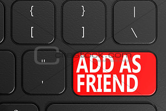 Add as friend on black keyboard