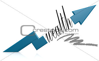 Blue arrow with wealth word