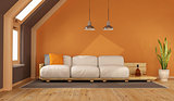 Orange living room in the attic