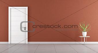 Modern room with closed door