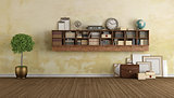 Vintage living with wooden bookcase