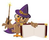 Owl bird in Halloween costume holding open book