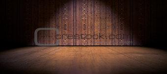 Floor and wood door background