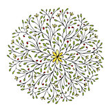 Floral circle ornament, hand drawn sketch for your design