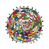 Colorful spiral mandala, sketch for your design