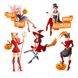 Beautiful women in Halloween costumes fairy with pumpkin, vampire, witch on broom, pirate and devil. Set of cartoon vector illustrations with text.