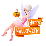 Beautiful woman sitting with pumpkin basket in fairy Halloween costume. Cartoon style vector illustration with text isolated on white background.
