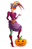 Redhead woman in purple pirate Halloween costume with pumpkin. Cartoon style vector illustration isolated on white background.