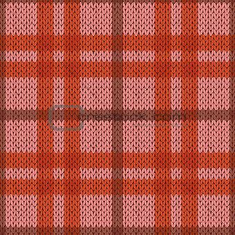 Knitting seamless pattern in pink and orange hues