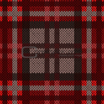 Knitting seamless pattern in dark warm colors