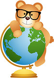 Cute teddy bear on earth ball