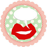 Round sticker with lips and comic balloon