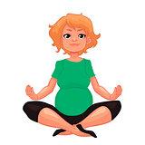 beautiful pregnant woman in various poses of yoga