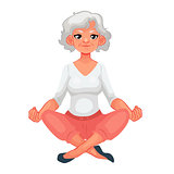 beautiful senior woman in various poses of yoga