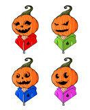 Great designed cartoon head-styled pumpkins for halloween