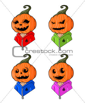 Great designed cartoon head-styled pumpkins for halloween
