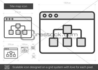 Site map line icon.