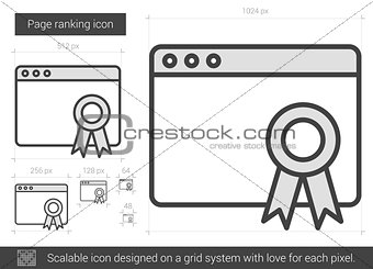 Page ranking line icon.