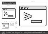 Custom coding line icon.