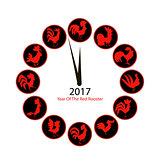 Rooster clock, symbol of 2017 new year
