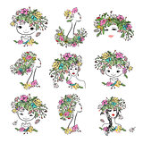 Female portrait with floral hairstyle, collection for your design