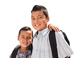 Young Hispanic Student Brothers Wearing Their Backpacks on White
