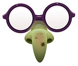 Witch mask for masquerade. Glasses and green nose with wart
