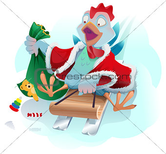 Christmas cock rolls on sledge from mountain. Blue cartoon Rooster symbol 2017