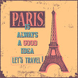 Vintage Touristic Greeting Card - Paris