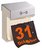 October 31 Halloween. Black Sheet tear off calendar