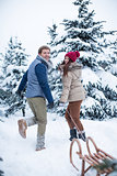 Young couple at winter forest