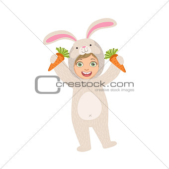 By Holding Carrots In Rabbit Animal Costume