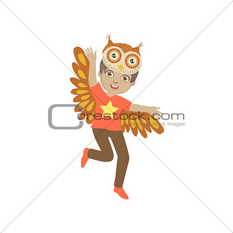 Boy Wearing Owl Animal Costume