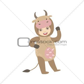 Boy Wearing Cow Animal Costume