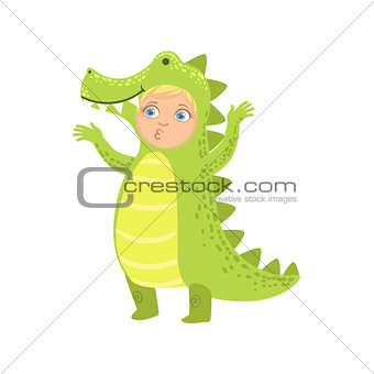 Boy Wearing Crocodile Animal Costume
