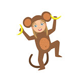 Girl Wearing Monkey Animal Costume