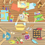 Children Craft And Cooking Class Two Illustrations With Only Hands Visible From Above The Tabl