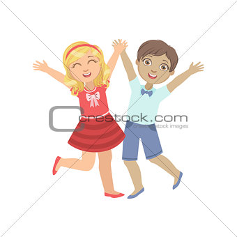 Boy And Girl Holding Hands Jumping