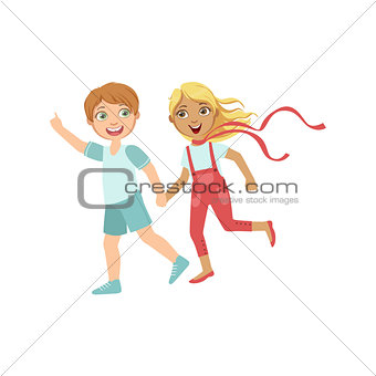 Boy And Girl Running Outside Holding Hands