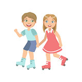 Boy And Girl Roller Skating Holding Hands
