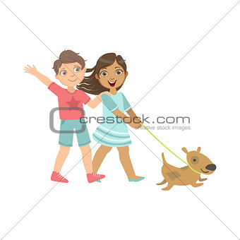 Boy And Girl Walking The Dog Together