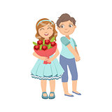Girl With The Bouquet And Shy Boy Next To Her