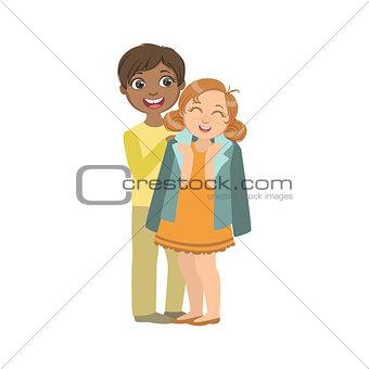 Boy Putting His Coat Around Girl s Shoulders