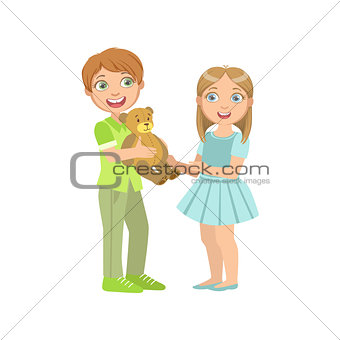 Boy Presenting A Teddy Bear To  Girl