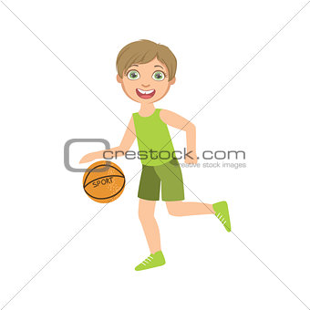 Boy Playing Basketball In Green Clothes