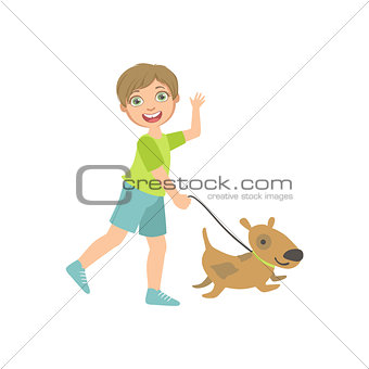 Boy Walking A Dog On The Leash