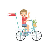 Boy Riding A Bicycle Waving