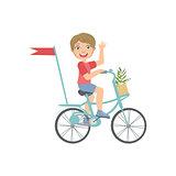 Boy Riding A Bicycle Waving