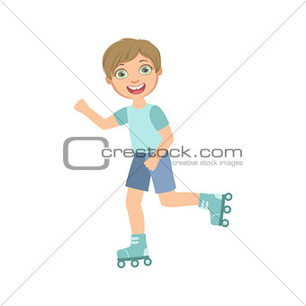 Boy Roller Skating Outdoors