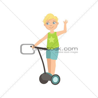 Boy Riding Segway Waving